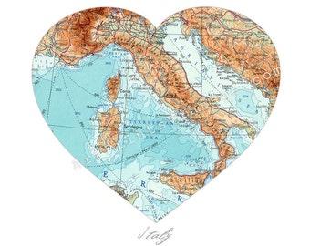 Italy Map Heart Print, Vintage Italian Wall Decor, Heart Map, Italy Wall Art