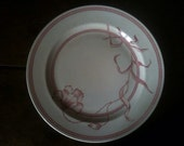 Vintage French red white dinner lunch display plate circa 1930's / English Shop