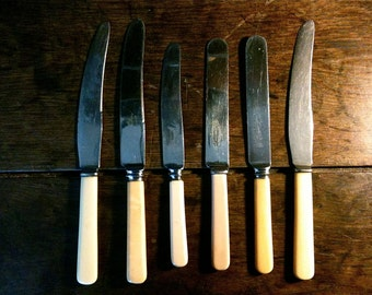 Vintage English mixed lot of 6 eating knifes cutlery circa 1950's / English Shop
