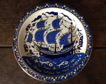Vintage Greek fish and sailboat decor lunch dinner side plate circa 1950's / English Shop