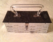 Vintage 50s Dorset Rex Silver Woven Gray Marble Lucite Handbag Red Lining
