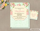 Shabby Chic Bridal Shower Invitations - FREE Matching Favor Tags - Talia Collection