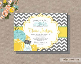 Gray and Yellow Chevron Baby Shower Invitations - Printable DIY Invitations - Claire Collection