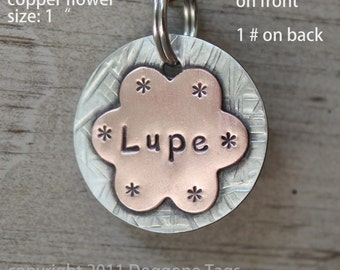 Sweet Petunia - mixed metal pet id tag