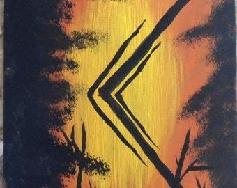 Kaunaz Runic Element Painting (viking pagan norse runesAsatru heathen)