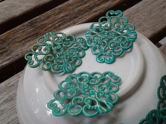 6pcs - Handmade Faux Verdigris Patina Floral Filigree Connector Wrap Setting - 37x30mm(F006)