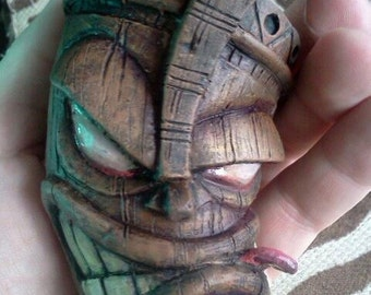 Hand Painted Tiki Ornament by Tom Taggart