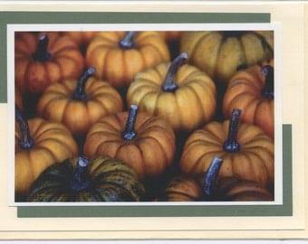 Greeting Card - Photo - Decorative - Art Card - Blank - Gift - Pumpkins -Orange- Autumn - Fall - Harvest - Holiday