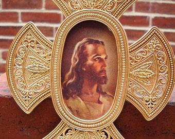 gold framed jesus ornate