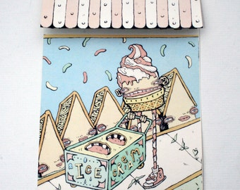 Digital Art Print - Illustration Print - Pop Up Card - Paper sculpture - Anthropomorphic Ice Cream