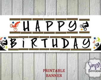 PRINTABLE BMX Happy Birthday Banner - Instant Dowload