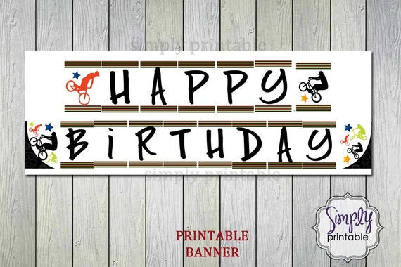 PRINTABLE BMX Happy Birthday Banner - Instant Dowload