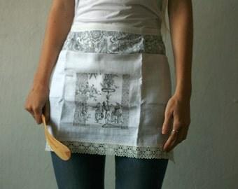 Grey Victorian detail kitchen apron with decoupage detail, waitress style apron, vendor apron