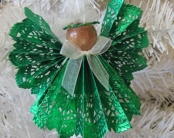 Green Paper Angel, Foil Paper Angel, Christmas Ornament, Tree Decor, LAST ONE, Green Christmas Ornament, Holiday Decor SnowNoseCrafts