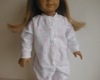 18 inch Doll Clothes Fits American Girl - Flannel Footie Pajamas