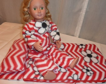 SALE! SLEEPING Bag and PAJAMA set- American Girl or other 18 inch doll- Red Chevron fleece with black flowers