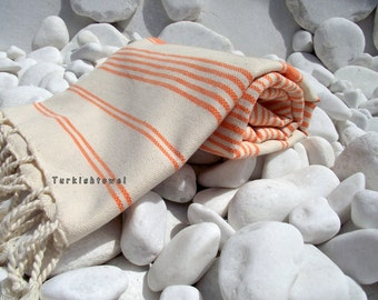 Turkishtowel-Hand woven,20/2 cotton warp and weft Turkish Bath,Beach Towel-Orange stripes on Natural Cream