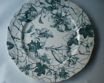 Vintage Rare Bourbon Lily Aqua Blue Transferware Plate