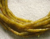 Hand Cut And Hand  Polished Yellow  Green  Serpentine Tube  Beads