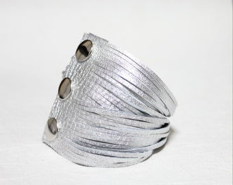 Ultra Soft 34 Leather Strands Bracelet(Silver)