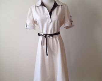 1980s Cream Day Dress with Polka Dot Detail S M