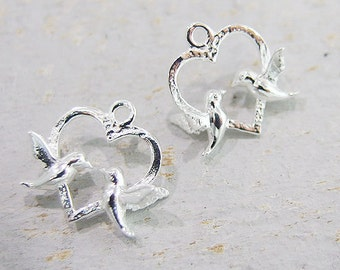 2 of 925 Sterling Silver Love bird Charms 12mm.  :th2050