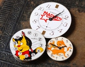 Set of 3 Vintage watch movement, watch parts, watch faces, cases. Cat, fox, Glastnost