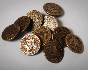 Set of 10 vintage brass round buttons with floral decor