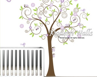Children Wall Decals vinyl wall decal with Ladybugs and Birds-Vinyl Tree Wall Decal