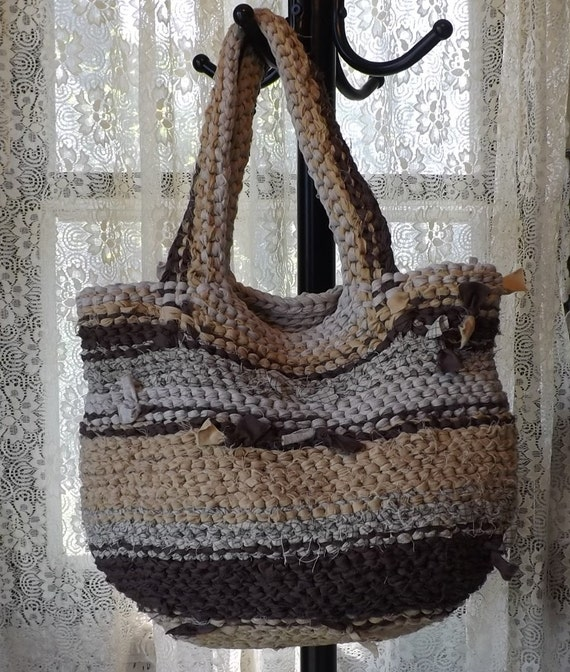 Rag Crochet Boho Shabby Chic Unique Handbag Purse Brown Mustard Beige - Free Shipping