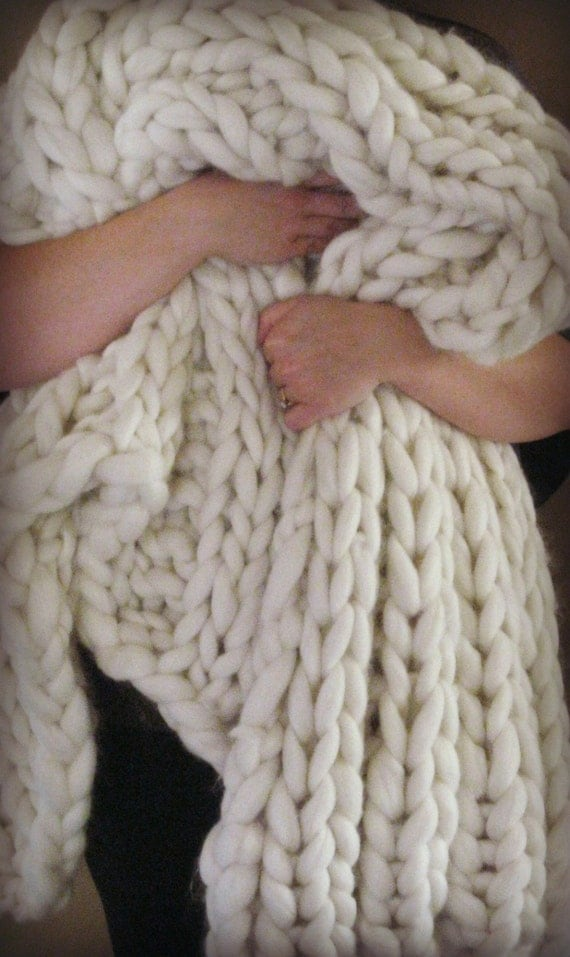 Giant Knitting Blankets : Items similar to giant knit blanket super