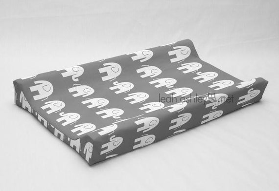 Changing Pad Cover Contoured Gray White Elephant By