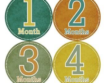 Baby Month Milestone FREE Month Baby Sticker Baby Month Milestone Stickers Baby Boy Bodysuit Stickers Baby Photo Props Green Brown 023B