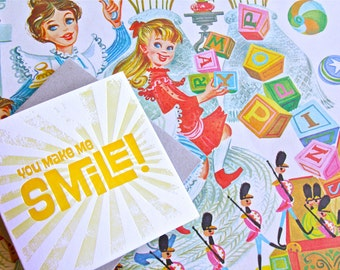 You make me smile - Mary Poppins Mother's Day card Spring, Letterpress Summer Sunshine Card. Bright sunshine yellow made in Aus