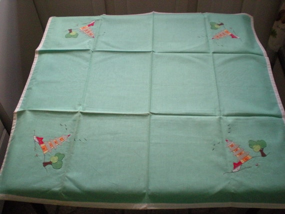 Vintage 1950s Square Chinese Theme Embroidered Mint Green Card Tablecloth table cloth and napkins