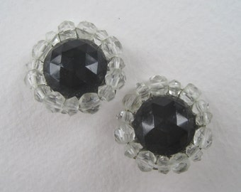 SALE 50 PERCENT OFF Vintage Signed Japan Glass Onyx Black Clear Faceted Beaded Cluster Clip On Earrings