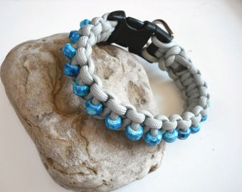 Small Beaded Dog Collar, Blue Marble, Steel Grey