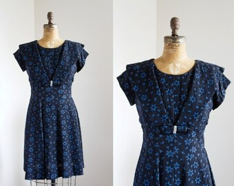 SALE 1950s Dress - 50s Dress - Black And Blue Floral Dress