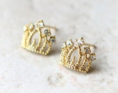 Princess Tiara Earrings in gold