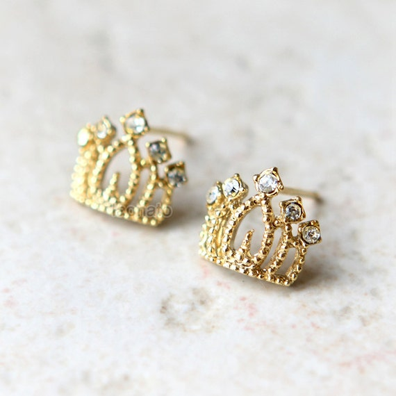 princess tiara earrings in gold by laonato on etsy