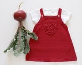Knitted baby skirt with crochet heart. Cerise. 100% cotton. READY TO SHIP size 3 months