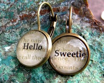 Doctor Who Earrings,Word EarringS, Hello Sweetie, Time Lord, Doctor Who Jewelry, Doctor Who Hello Sweetie