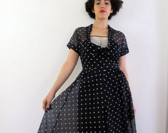 50s Vintage Sheer Polka Dot Dress medium