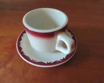 McNicol Cup and Saucer/ Restaurant Cup and Saucer / Stoneware Cup / McNicol-Martin China / Clarksburg West Virginia / Vintage Cup and Saucer