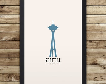 "SEATTLE Minimalist City Poster - 12"" x 18"""
