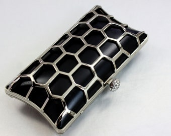 7.5 x 4 inches - Honeybee - Rectangle Dressing Case Silver Purse Frame with Covers (CBF-AL20)