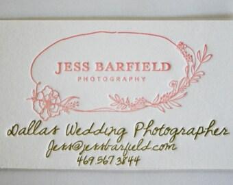 Letterpress Handwritten Logo Business Cards