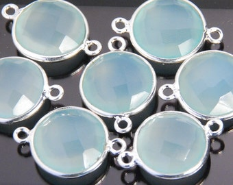 2 pieces: grade AAA aqua chalcedony gemstone bezel connector, sterling silver frame, size approx. 13x20mm