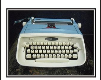 Blue 1960s Royal Custom Typewriter