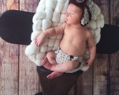 Ready to Ship Newborn or 0 - 3 Month Crochet Baby Aviator Scarf and Diaper Set //  Photo Prop Newborn Bomber // choice of colors